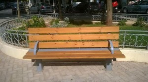 Athens public bench homeless