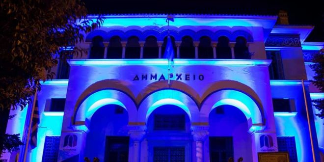 Historic buildings in Greece turn Blue on Autism Awareness Sunday