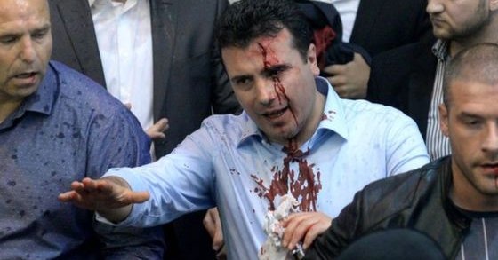 Protesters storm Parliament in Macedonia (FYROM) attack and injure MPs VIDEOS