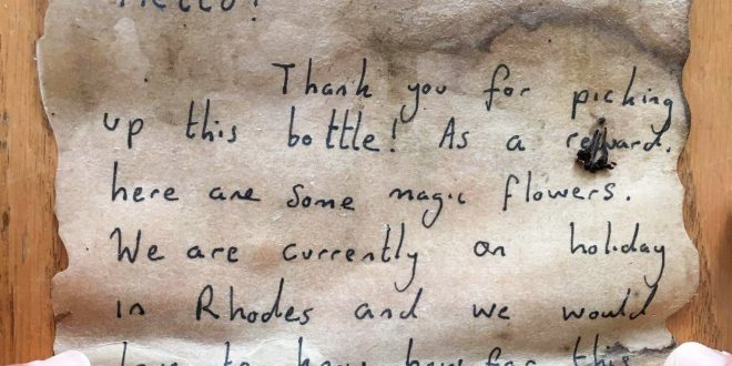 A message in a bottle from Rhodes reaches Gaza in six weeks