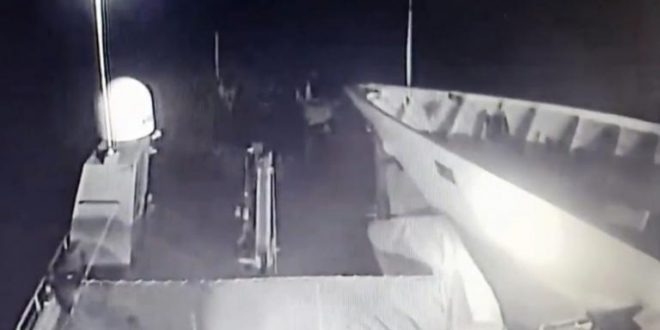 Video footage shows the moment the Turkish boat rams the Greek patrol boat at Imia